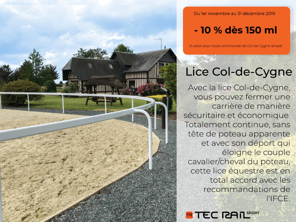 remise 10 % lice Col-de-Cygne TecRail, barrière équestre